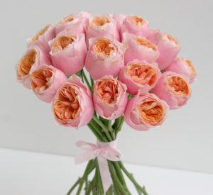 Elegantní svatební kytice - Růžové pivoňkové růže Vuvuzela - Růžová (lososová) svatba