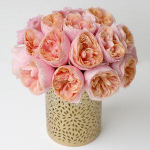 Svatební aranžmá - Růžové (lososové) pivoňkové růže Vuvuzela - Svatební tabule růžovo-zlatá